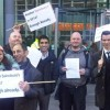 New Cross locals protest outside Sainsbury's Headquarters in central London