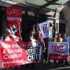 Rail unions protest at ticket office closure plans