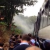 Train fire scare forces hundreds onto tracks