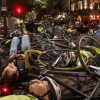"Demanding road safety for cyclists: campaigners from across London gather for ""die-in"" protest"