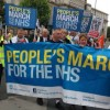 Thousands of protesters prepare to march through east London in final leg of the People's March for the NHS