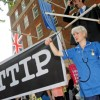 Activists rally in Westminster in Europe wide protest against treaty to sell off our public sector
