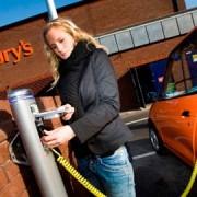 Customer recharging their electric car. Photo: Sainsbury's