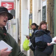 A campaigner hands out leaflets outside New Cross Gate. Photo: Shade Lapite