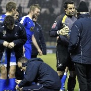 Millwall prepare for penalties.  Photo: Brian Tonks