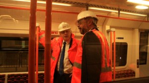 Boris Johnson inspects a new East London Line train. Photo: Emily Jupp