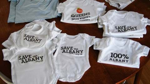 Albany Babygro made specially for the protest against practice's closure. In fact, campaigners want the Albany model to go nationwide.