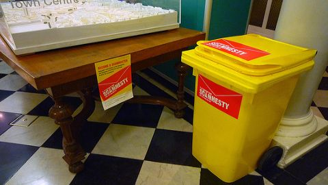Scamnesty bin to collect scam mails. Photo: Xiaming