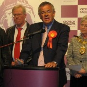 Malcolm Wicks giving his acceptance speech as Labour MP for Croydon North. Photo: Rebecca Lindsay