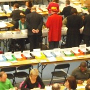 Checking and counting the ballot papers in Croydon Council elections 2010. Photo: Laura Passi