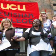UCU members from Lewisham College protest against cuts in further education