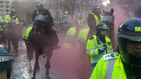 mounted police have charged protesters.