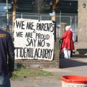 Protestors outside Tidemill Primary School. Photo: Leila Galloway