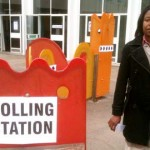 A solitary voter at Thomas Abney school in Hackney 8am