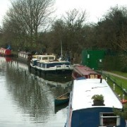 Houseboats on Lea River In Hackney at Springfield Park