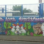 mural at Downsview School in Hackney