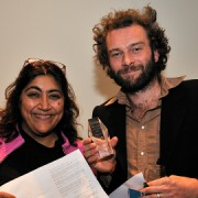 Jamie receiving his award from Gurinda Chadha