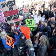 Students marching in Westminster last year    pic: Matt Dinnery