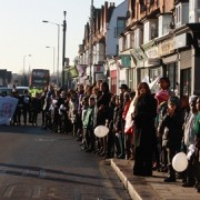 Brockley residents form a human chain to promote making the area safer pic: Helen Crane