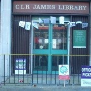 Just two people arrested outside the library on Wednesday morning remain in police custody 24 hours later pic: Will Cold