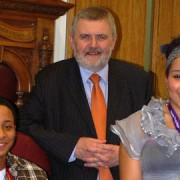 Steve Bullock with the Lewisham Young Mayors in October pic: Sea Jung Ra