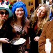 Locals participating in Brick Lane pancake race pic: Joanna Kindeberg