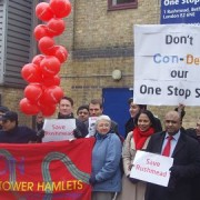 A rally last Saturday helped stop the closure of the One Stop Shop in Bethnal green pic: Mengdi Li