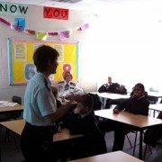 PC Lucy Bunting gives pupils a wake-up call. Metropolitan Police