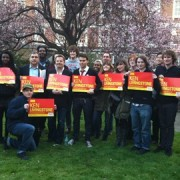 Eddie Izzard among students and local Labour Party members. Pic: Jo Abbas