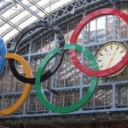 The Olympic logo at St Pancras station pic: John Dickins, flickr