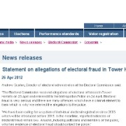 Electoral Commission statement on allegations of election fraud in Tower Hamlets