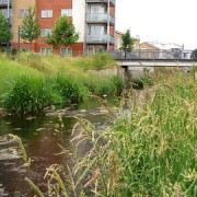 A view of the River Ravensbourne from Cornmill Gardens near Lewisham DLR station
