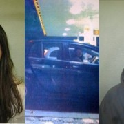 Laura Johnson (left) at the wheel of the car when stopped (centre) and Christopher Edwards (right)