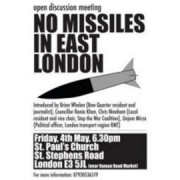 No Missiles in East London Poster. image: Facebook