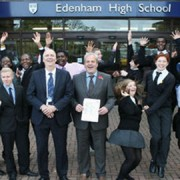 Pupils celebrate at Edenham High Pic: Croydon Council