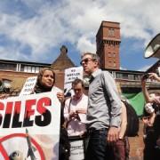 Protest outside the Lexington Building on Saturday Pic: Lauren Buljubasic