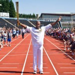 Marlon Devonish Carries The Torch In Croydon. Pic LOCOG