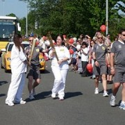 Olympic Torch relay changeover, Cardiff Road, Newport  Pic: Robin Drayton