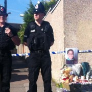 Police guarding the house of the grandmother of Tia Sharp, where a body was found yesterday. Pic: Emma Jane Burgess