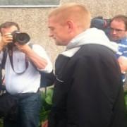 Stuart Hazell is taken away for questioning. Pic: Emma Jane-Burgess