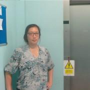 Hazel Ho outside the lift. Pic: