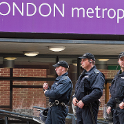 Police at the university's Aldgate campus during anti-EDL protests in September. Pic: Bob Bob