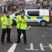 Police guard London Road, August 2011. Pic: ELL