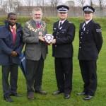 Ade Solarin, Mayor Sir Steve Bullock, Chief Superintendent Russel Nyman, Sergeant David Laurie Pic: Hugh McCafferty
