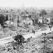Air raid damage wrecked houses and school in Hither Green Station. Pic: JWM Imperial War Museum Bomb Sight