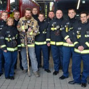 Phil Packer with London Fire Brigade Pic: Phil Packer