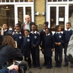 Nick Hornby with school children. Pic: Ministry of Stories