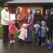 Councillor Millbank with Jean Bredrose, a local childminder who started the petition, and concerned parents. Pic: Save Telegraph Hill Playclub.