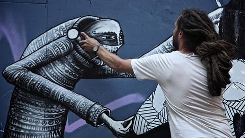 Street artist Phlegm unveils new mural in Hackney | Eastlondonlines