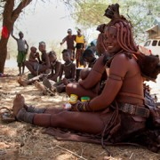 Participant of the Goldsmiths college pyschology study on rural versus city dwelling effects on human concentration. This woman is a member of the Namibian Himba tribe.